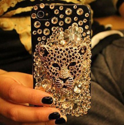 Umiko(TM) 3D Diamond Luxury Gold Leopard Head Bling Crystal Rhinestone Cover Case for IPhone 6 Plus